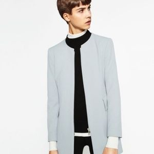 Zara Pale blue zip front jacket Sz M